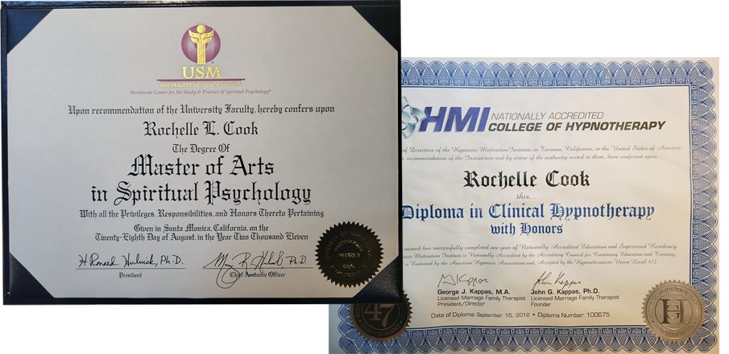 Rochelle L. Cook MA CHt. Master of Arts in Spiritual Psychology & Diploma in Clinical Hypnotherapy with Honors
